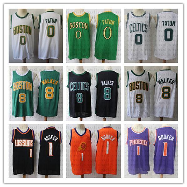 NCAA Hommes S cousue bon marché Jersey bas de basketball bas bas de basket Tatum 0 Walker 8 Booker 1 Sports de sport confortable et respirant en plein air