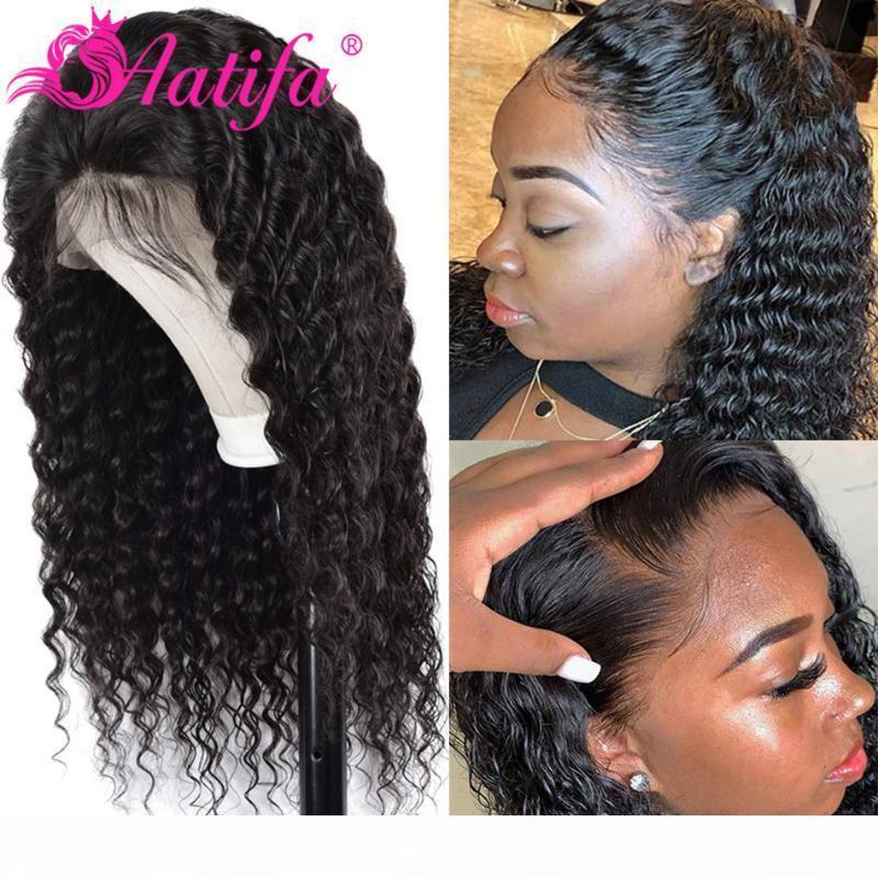 Deep Wave парики 13x4 фронта шнурка человеческих волос Парик естественный цвет волос Кружева Фронтальная парики для женщин черный Pre щипковых Hairline