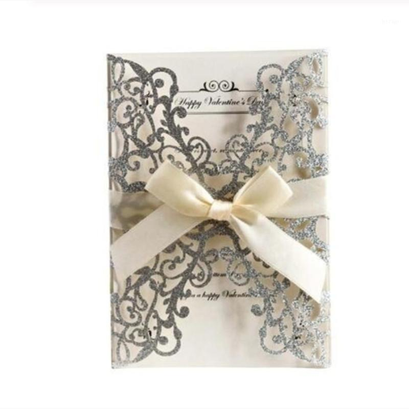 Tarjetas de felicitación 10 unids oro azul plateado papel láser tapa de invitación de invitación de boda con cinta1