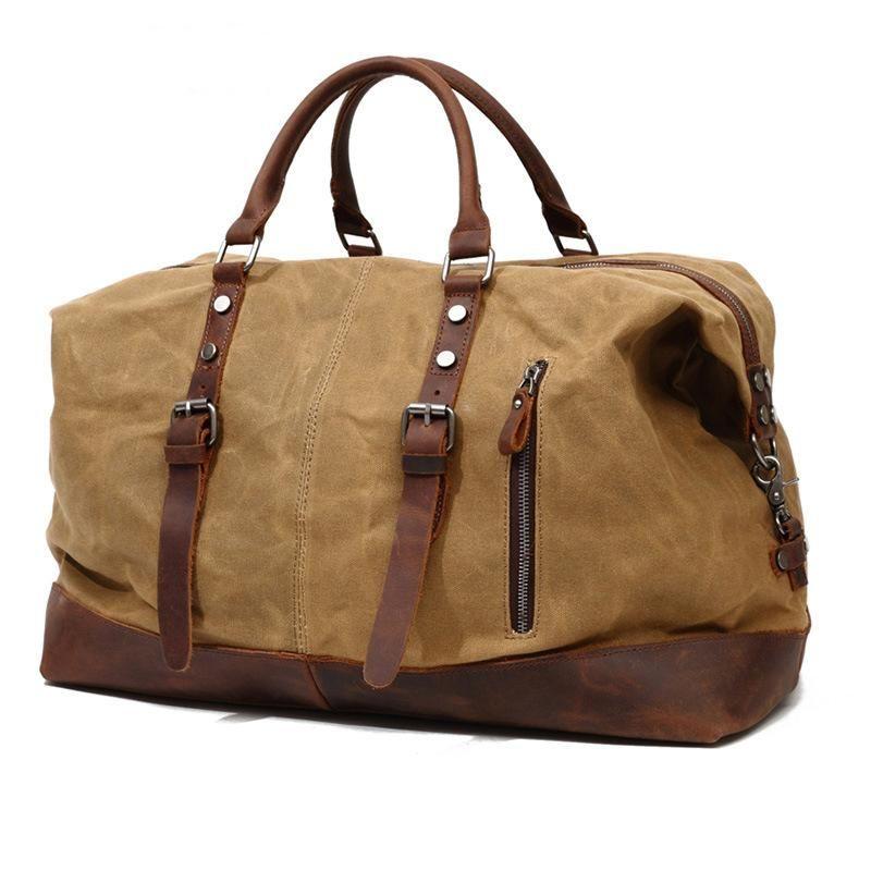 Designer-Large capacity high density tarpaulin canvas and full-grain leather Duffel Bags waterproof handbag with Shoulder strap travel bags