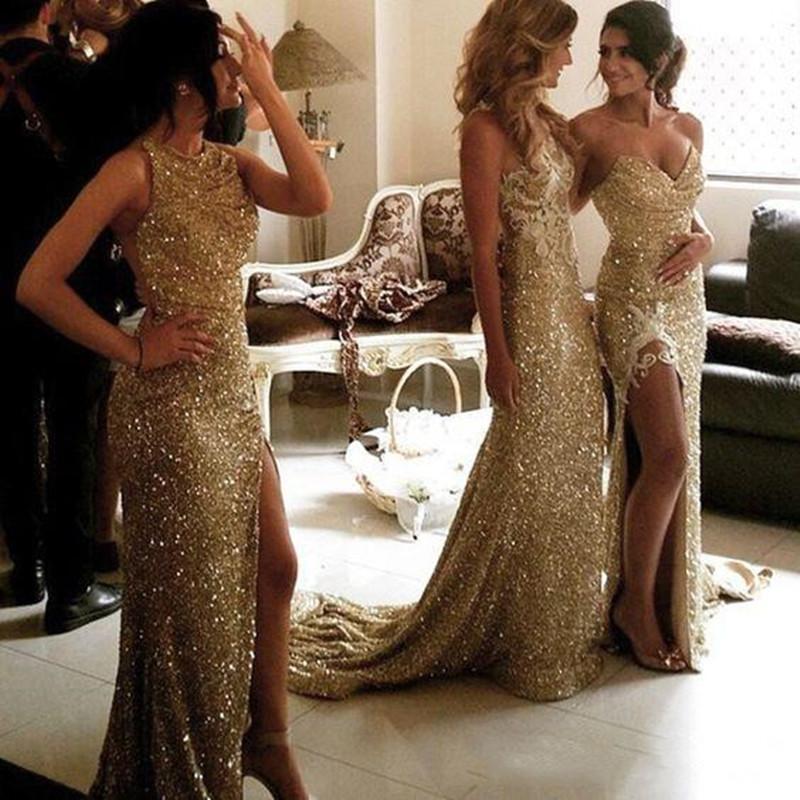 Brautjungfernkleider Hochzeiten Mermaid Gold Pailletten Brautjungfer Kleid verschiedene Arten gleich Farbe 2021 Sexy charmantes Slpit Front Haupträume der Ehren d