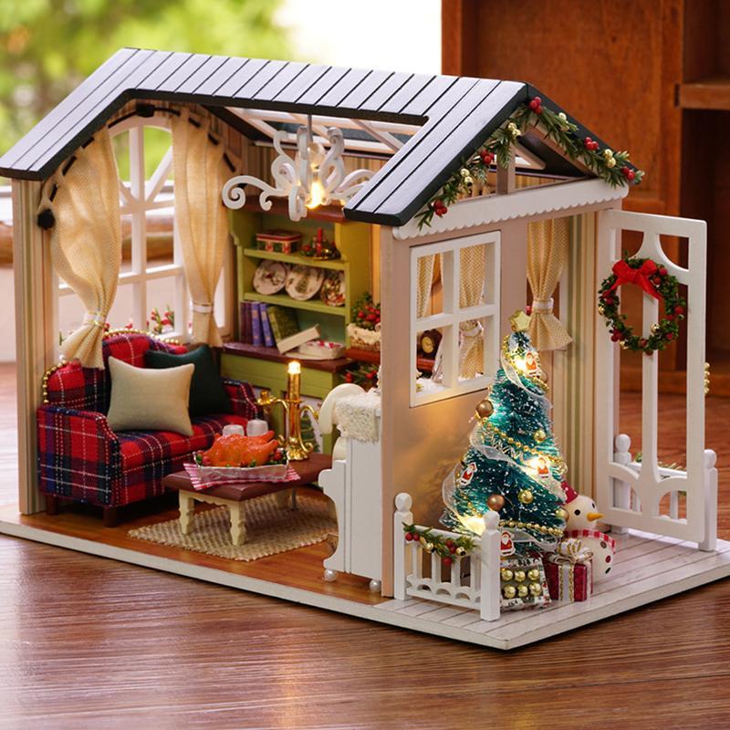 بيت الدمية مصغرة diy دمية مع اثاث المنزل لعب منزل خشبي للأطفال عطلة مرات T200116