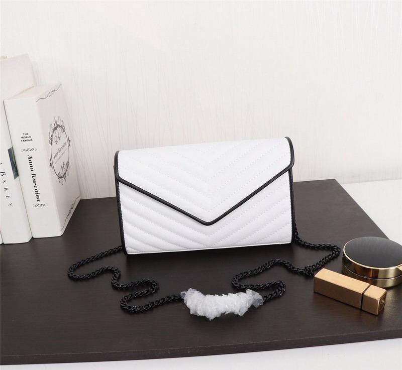 Neuer Markendesigner Luxus-Handtaschen aus echtem Leder Frauen diagonaler Taschen schwarz mit weißen Kaviar Leder Dame Schulterbeutel 23x4.5x14cm
