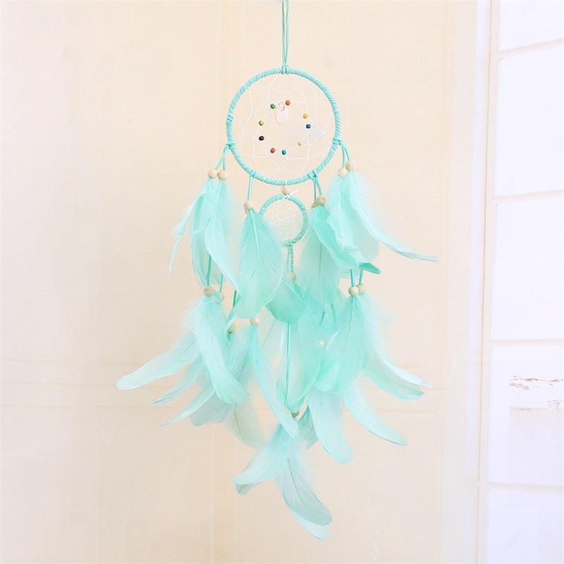 LED luce sogno catcher fatti a mano piume auto home parete appeso decorazione ornamento regalo Dreamcatcher Vento Chime Party Decoratio 8 G2