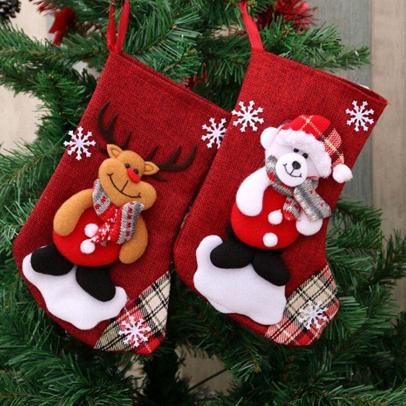 I titolari di Natale Sock Bambini Candy Bag regalo Mini Calze Xmas Tree Ornament Regalo di Natale decorazione per la casa SYHx #
