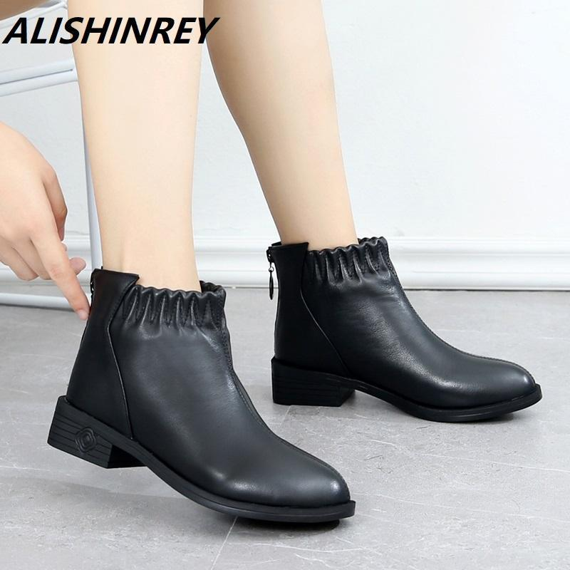 ALISHINREY Moda Botas Mulheres Autumn Botas Genuine Leather Ankle 2020 inverno quente plush pele Women Shoes Big Size 43