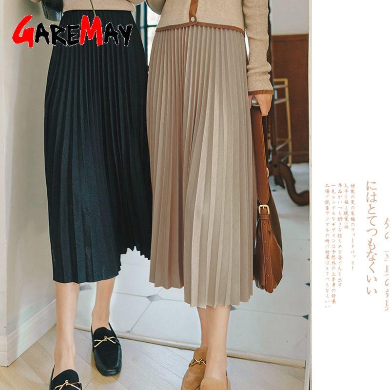 NEW Women's winter skirts midi Long Vintage Warm black pleated female 2020 korean autumn high waist skirt Q1229