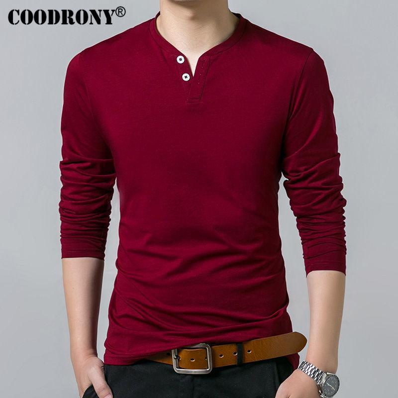 Coodrony T-Shirt Erkekler İlkbahar Sonbahar Yeni Uzun Kollu Henry Yaka T Gömlek Erkekler Marka Yumuşak Saf Pamuk Slim Fit Tee Gömlek 7625 201004