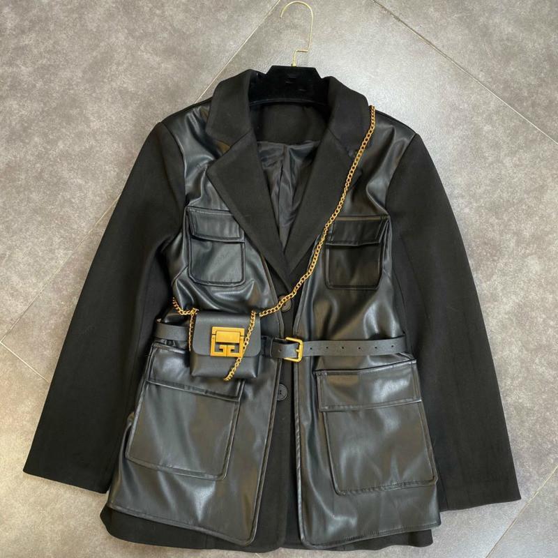 DEAT Sonbahar Kış Uzun Kollu Down Yaka Tek Göğüslü Düğmeler PU Patchwork Siyah Ceket Kemer Çanta Ile Kadınlar MK629 201023