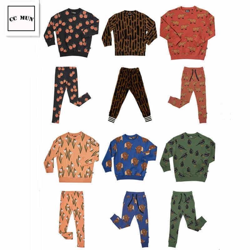 carlijnq menino menina leopardo geometria terno casual leggings camisola crianças roupas y200325