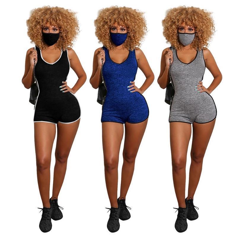 Shorts Biker à capuche Femmes Sexy V Bodysuit Nick Solide Couleur Coton Sport Casual Barboteuses réservoir Salopette été Streetwear Vêtements