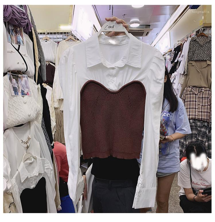 2021 Осенний отворот слойки с длинным рукавом свитер рубашка женских женщин женская стройная пригонка урожай вершина женская одежда1