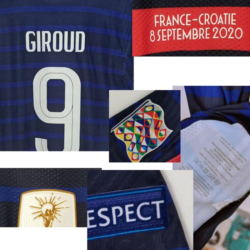 2020 assunto Playe Jogo Worn Camavinga Mbappé Giroud Kante Pogba Giroud Griezmann Com detalhes do jogo maillot shirt da faculdade de Futebol Americano