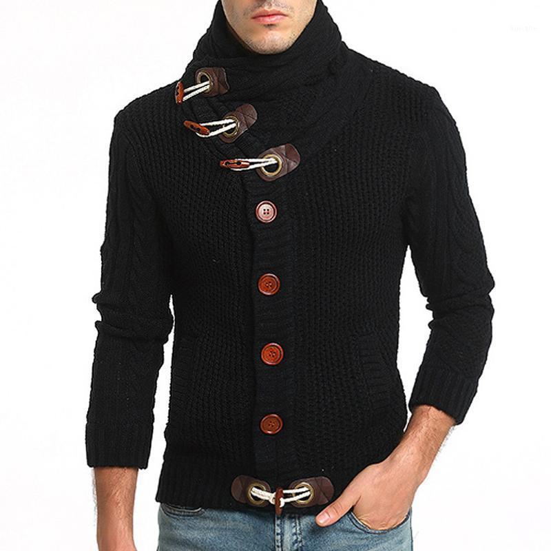Hombres suéter botón botón de punto Cardigans All-Match Outerwear Jackets Men Blusa Top1