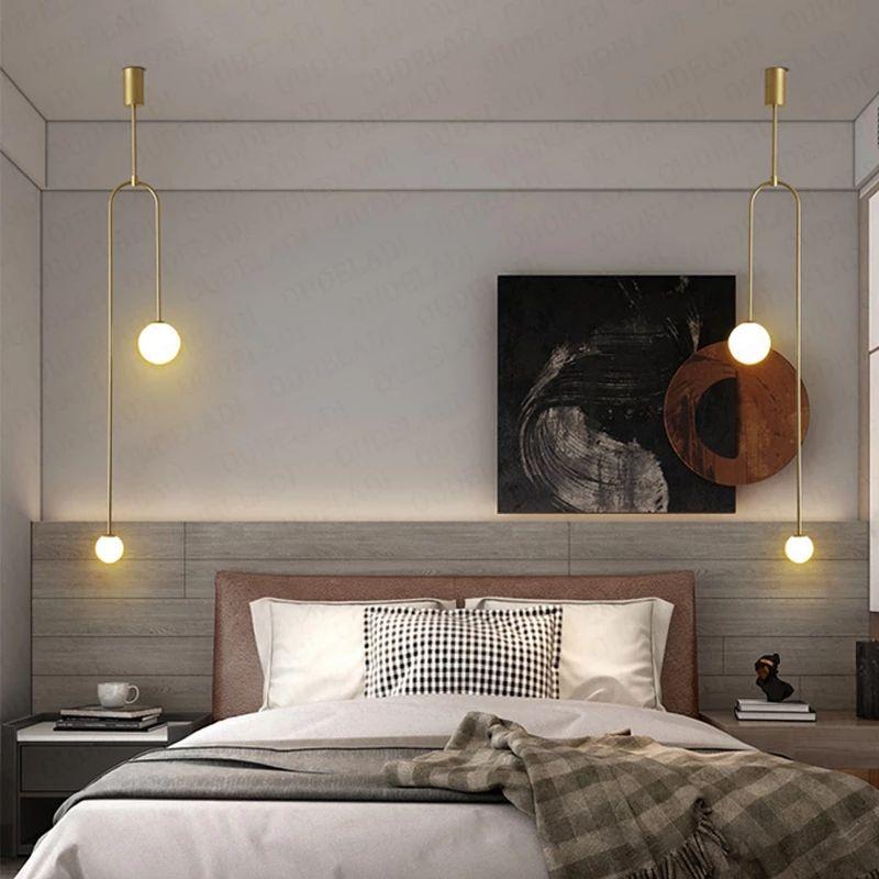 Nordic minimalist bedroom bedside chandelier creative personality restaurant bar background wall geometric line lamp