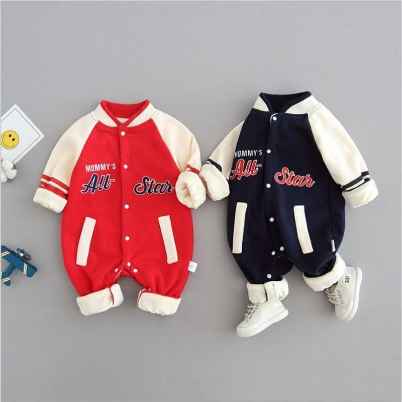 Onesie Baseball Bas Vêtements de bébé marée et Vêtements Automne chaud de Ch Winter Épaississement Enfants