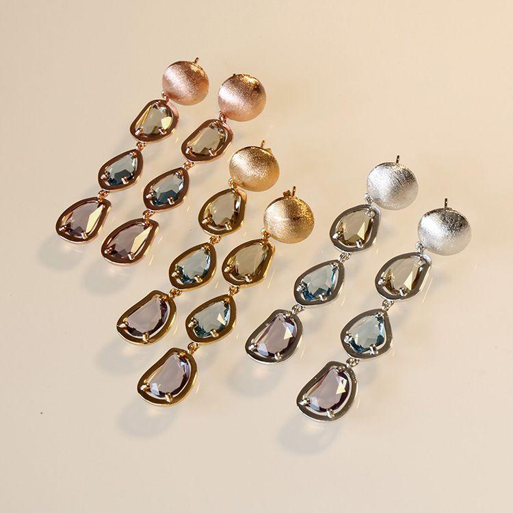 Neue Ankunft Vintage Farbe Kristall Teardrop Ohrringe für Frauen 2019 Heißer Verkauf Neue Luxus Modeschmuck