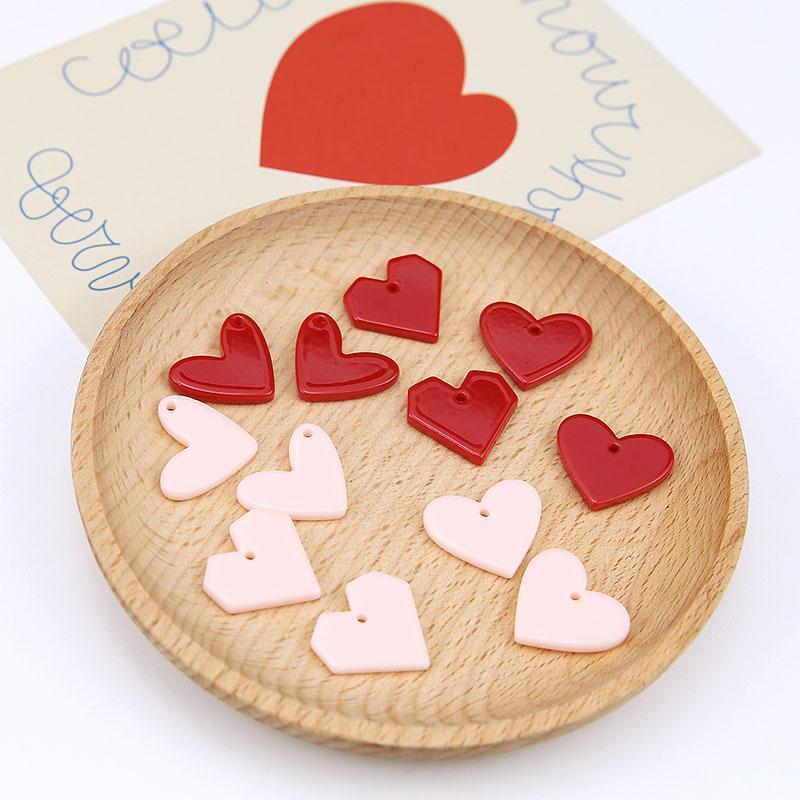 Mini Sipariş 10 adet Reçine Charms Aşk Kalp Şekli Pembe Kırmızı Plastik Moda Küpe Kolye Bilezik Yüzer Kolye Charm Craft1