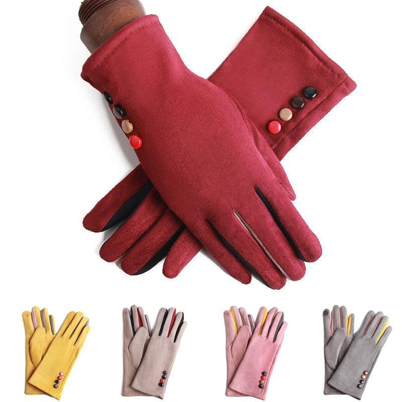 Touch Full Driving Gloves Cashmere Screen Finger Gloves Button Women Mittens Warm Suede Women 2021 Winter Leather Cycling Mukuo