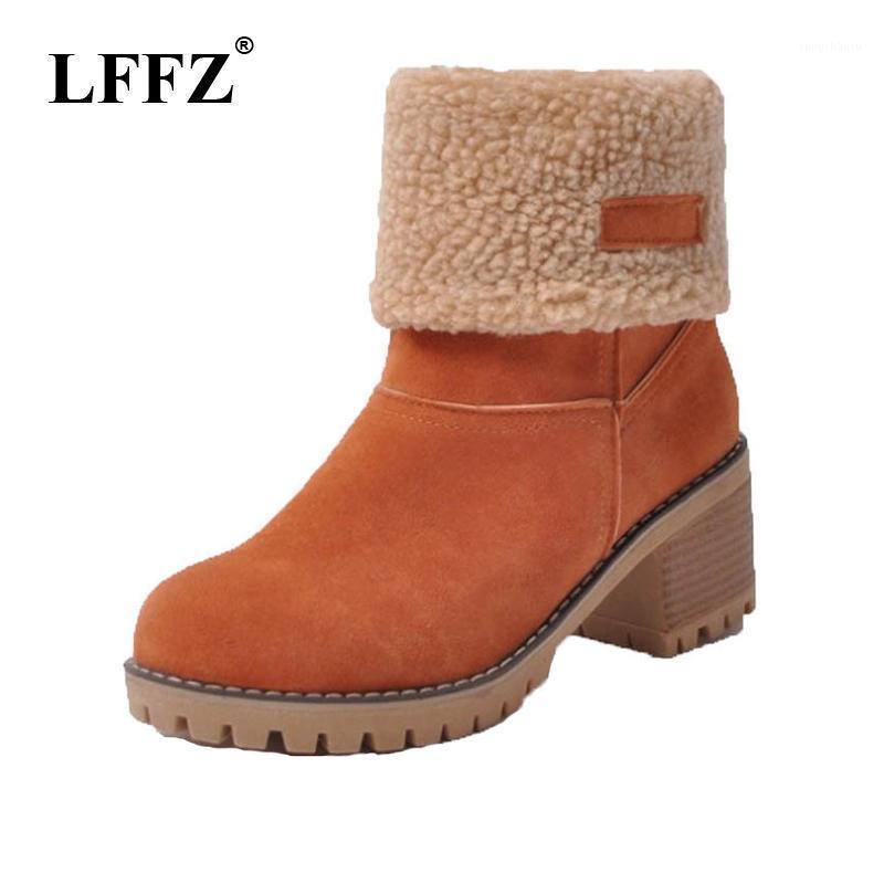 LFFZ Neue Schuhe Frauen Stiefel Schuhe Dicke Fersen Mid-Calf Motorradstiefel Winter Volle Pelz warm Schnee Russland FM441