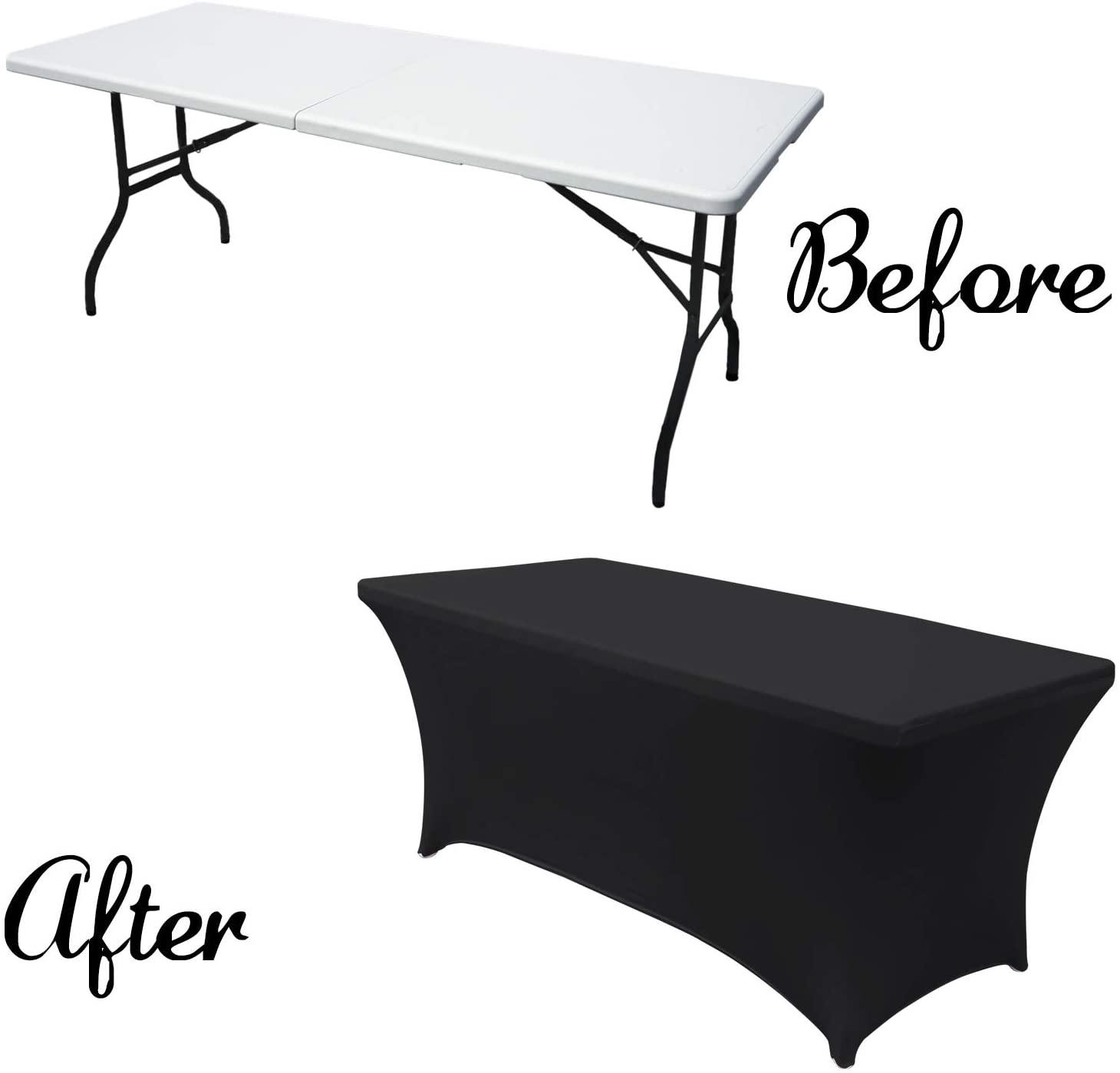Spandex Tablecloths for 4/5/6/8 ft Home Rectangular Table Fitted Stretch Table Cover Polyester Tablecover Table Toppers