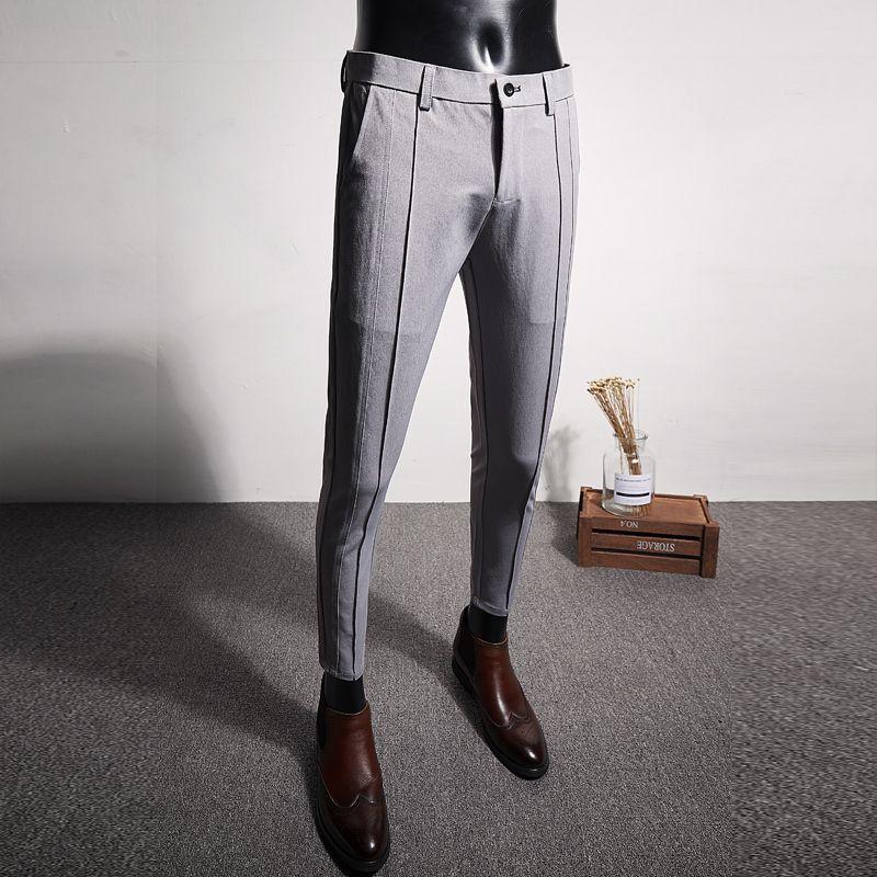 Casual Formal desgaste calças masculinas de alta qualidade terno calças homens Brand New Slim Fit Boutique Business Mens Dress Pant Simples 201109