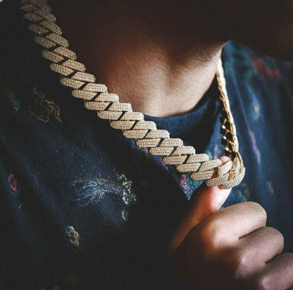20mm diamante Miami Prong Calvagem Chagh Cadeia Colar Colar Pulseiras 14k Ouro Branco Gelado Icy Cúbico Zircônia Jóias 7inch-24inch Chain Cubana