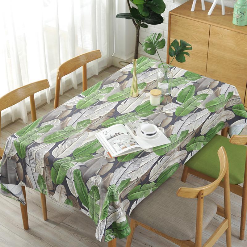 Mantel de hojas verdes para la cocina Cena decorativa de algodón ropa de mesa de mesa rectangular estilo tabla cubierta 1
