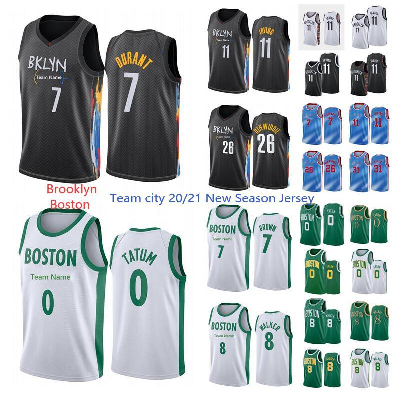 Nuova stagione Brooklyn8Boston Kevin 7 Durant Jersey Kyrie 11 Uniforme Irving Basket Basket Jason 0 Tatum 7 Brown 8 Walker 2021 City Jersey