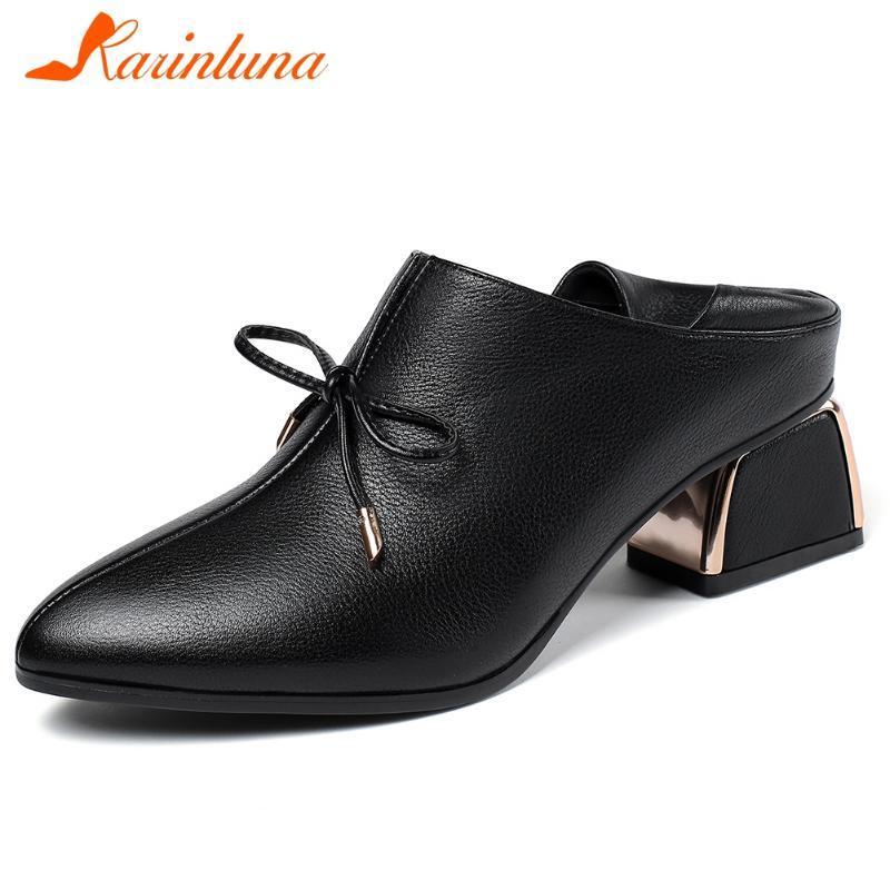 Karin 2020 Новая мода Подлинная Корова кожа Толстые каблуки Сжатый насосы Женская обувь Slip-On Управление леди Насосы Женщина обувь