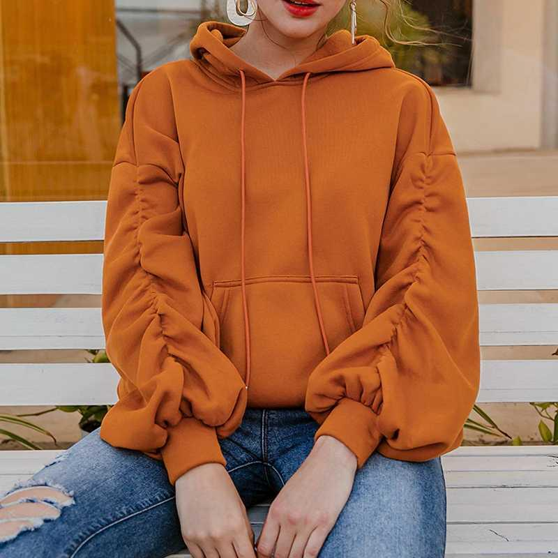 Kadın Hoodies Tişörtü Y2K Uzun Kollu Gömlek Kadın Üstleri Ve Bloues Kış Spor Rahat Pileli Cep İpli Hoodie Çoklu CO
