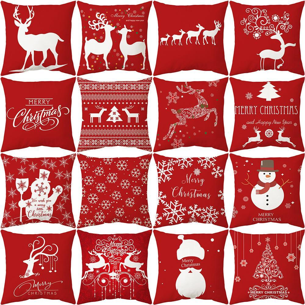 موضوع عيد الميلاد أحمر أسفل سلسلة وسادة غطاء وسادة غطاء الكتان الطباعة وسادة غطاء وسادة هدية