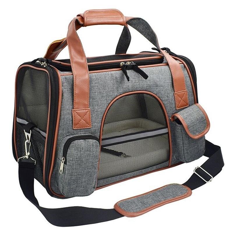 الحيوانات الأليفة السفر الناقل حقيبة تنفس محمولة مقعد السيارة حقيبة سفر الناقل حقيبة للكلاب أو القطط الطائرة المعتمدة LJ201201