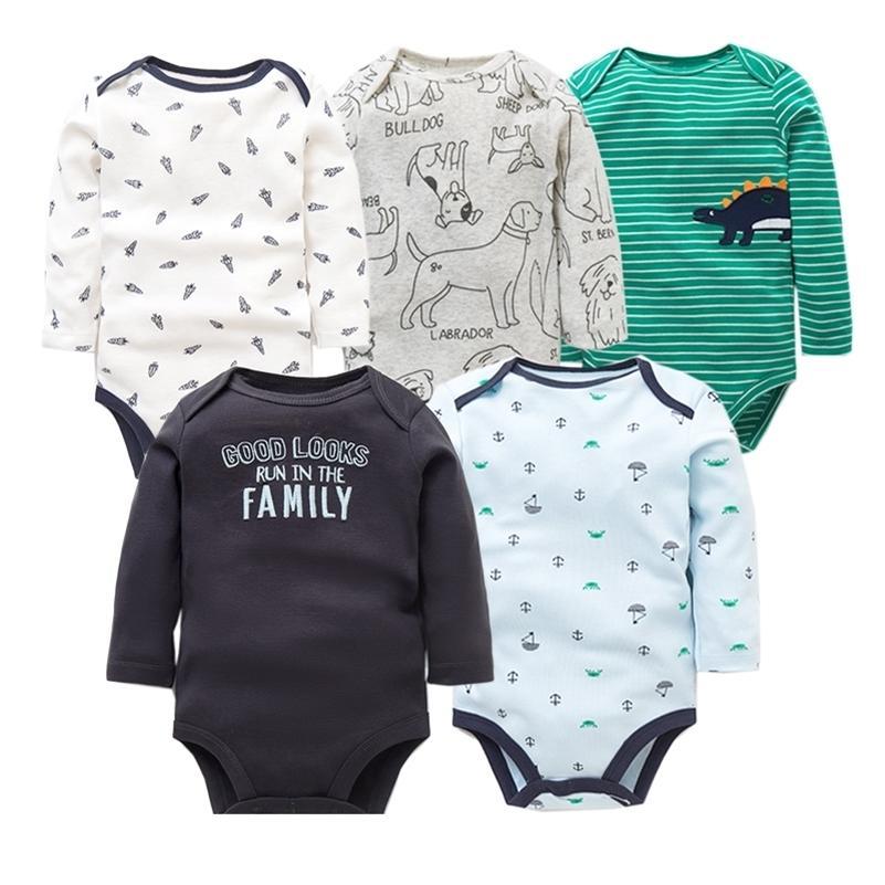 5 шт. / Лот Хлопчатобумажные тела Baby Bodysuits Унисекс Младенческая Комбинезон Мода Ребенок Мальчики Девушки Одежда с длинным рукавом Новорожденная Детская Одежда набор 201216