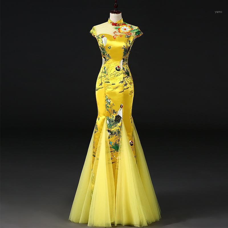 Estilo chino amarillo para mujer boda cheongsam retro sexy delgado fiesta vestido de noche vestido de matrimonio qipao moda lady vestido s-3xl1