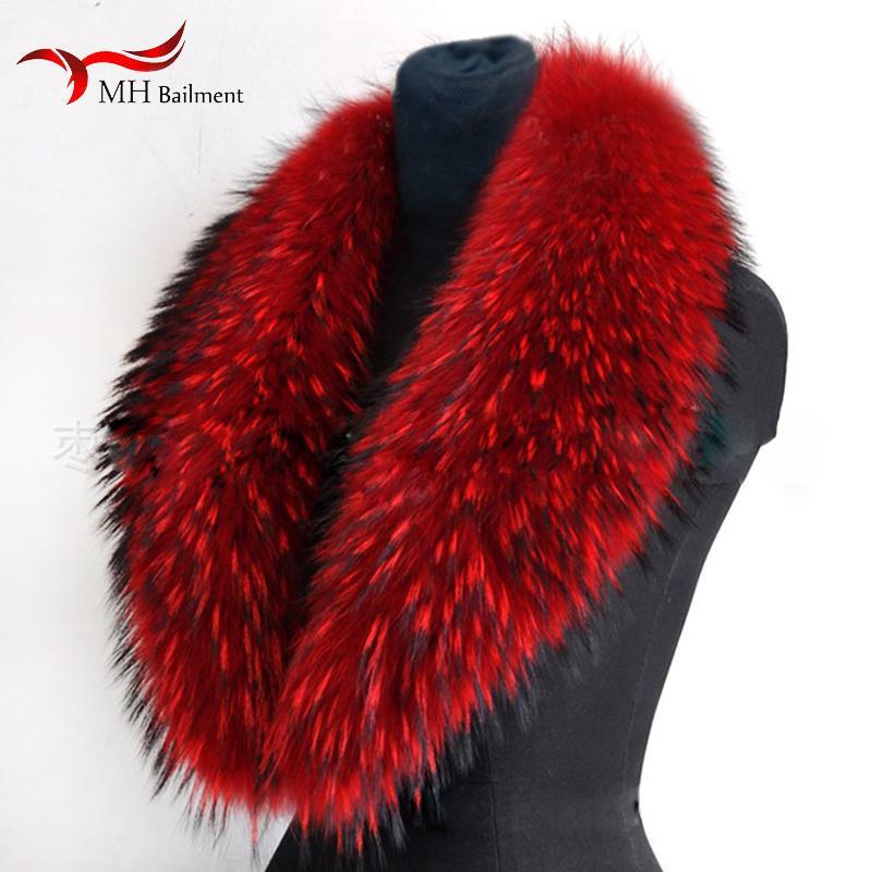 Gerçek Rakun Kürk Atkılar Kadın% 100 Saf Doğal Rakun Kürk Yaka Sıcak Kış Eşarplar Red Fox Kürk Yaka M8 201018