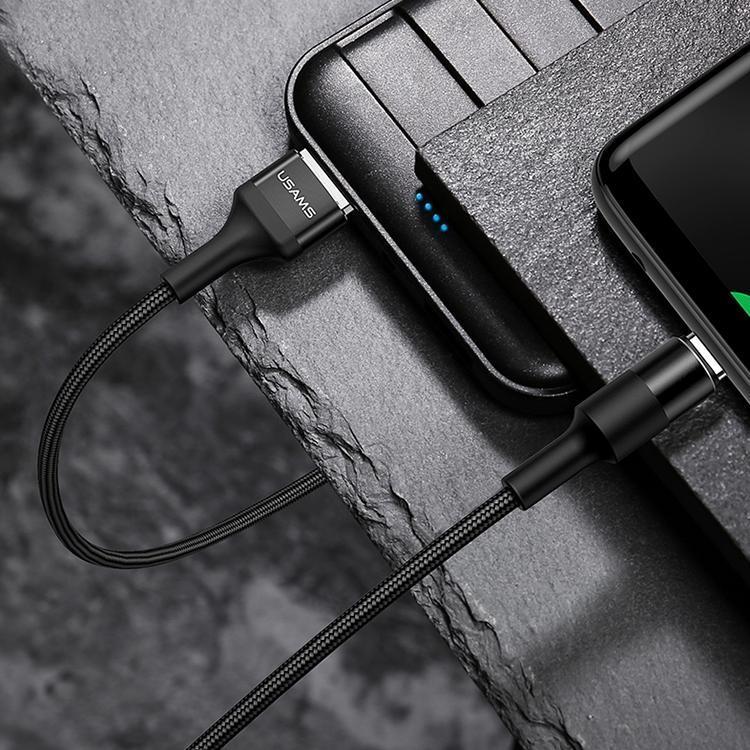 USAMS US-SJ221 U5 12m 2A Sortie USB vers USB-C de type C en alliage d'aluminium Tresse de synchronisation de données Câble