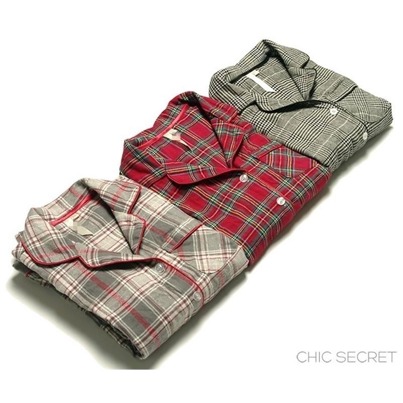 Otoño e invierno Mujeres de invierno Tela de franela suelta Plaid Casual Pijama Set Femenino de moda de moda Soft Algodón Salón Sleepwear 201113