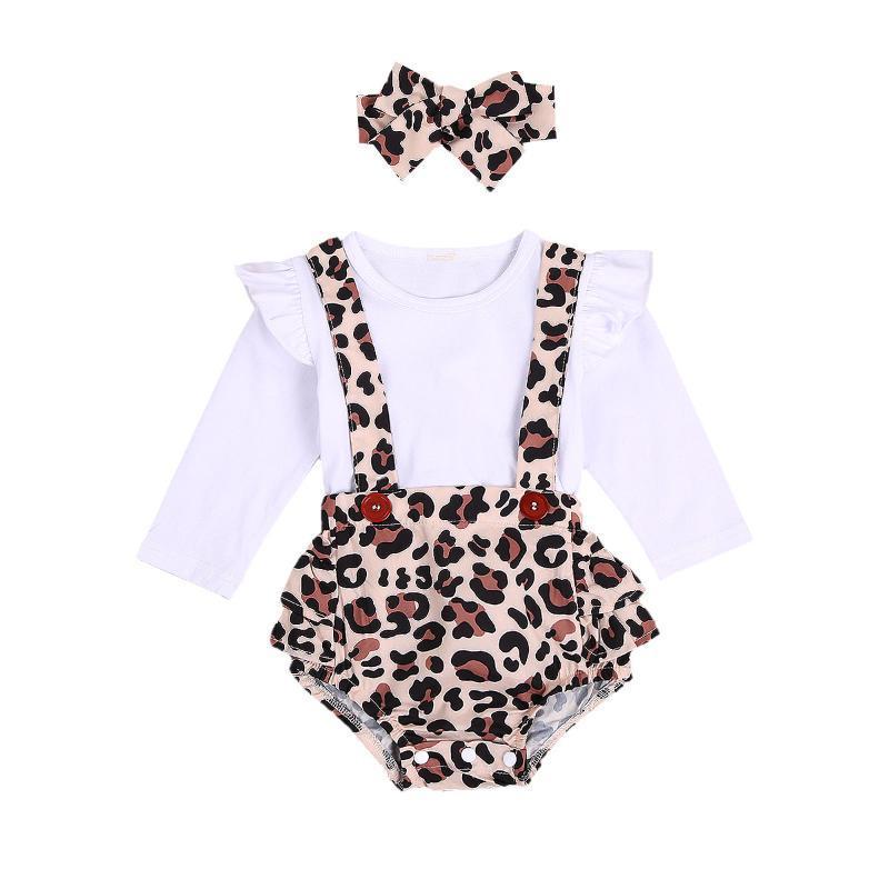 Zestawy odzieżowe 0-24m Born Baby Girls Chłopcy Odzież Leopard Ruffles Z Długim Rękawem Stałe Romper + Kombinezony BIB Spodenki Pałąk 3 sztuk