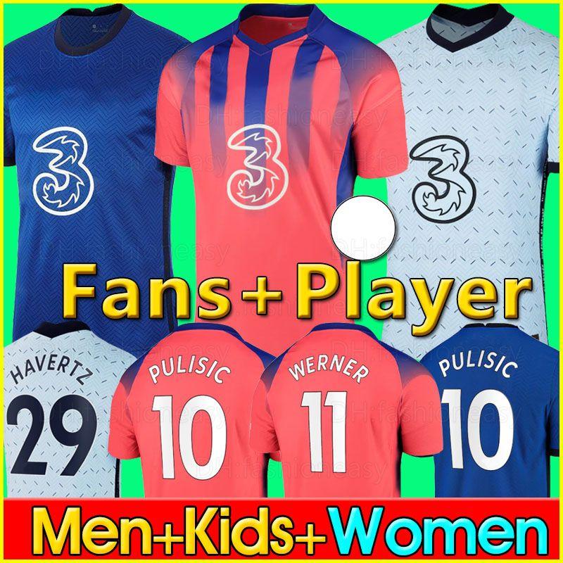 20 21 ABRAHAM Soccer Jersey WERNER ZIYECH 2020 2021 HAVERTZ PULISIC Football Shirt KANTE CHIILWELL Fans Player Version jerseys Men Kids Kit
