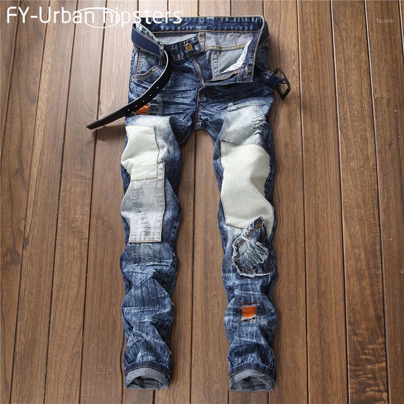 Mens 2018 Fashion Black Roading Cal Джинсы Slim Masculina Patch старинные джинсы мужчины повседневные плюс размер прямой пэчворк Mens1