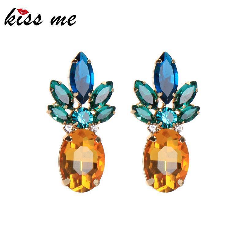 Chinkly Chastelier Kissme Classic Crystal Серьги из хрустальных Серьги для женщин Подарочный подарок Золотой цвет сплава мода ювелирных изделий аксессуары