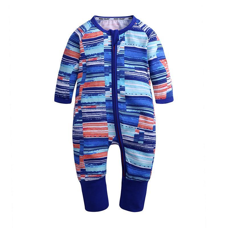 الخريف رومبير الطفل الرضيع مخطط القدمين سلم بيجامة النائم سحاب السروال القصير بوي الملابس