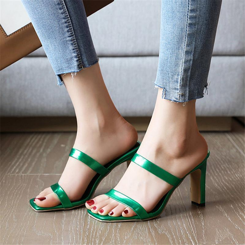 Платье обувь Женщины Летние Сандалии 2021 Тапочки на высоком каблуке Скольжение на открытом тоще, Повседневная Наружная узкая полоса