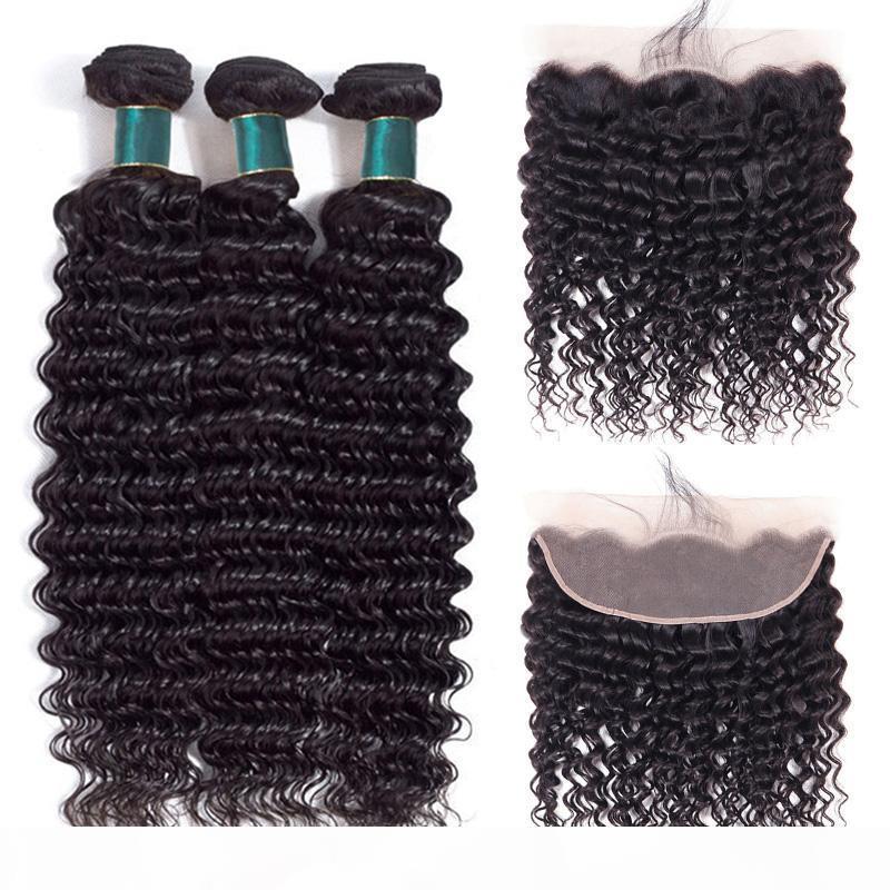 10a paquets de cheveux humains profondes avec une cuticule brésilienne frontale des cheveux alignés 3 faisceaux avec une oreille à l'oreille fermeture 13x4 dentelle extensions frontale