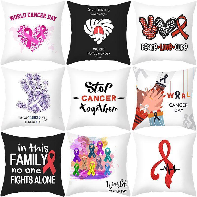 Peach World Skin Anti Cancer Day Velvet Pillow Cover Letter Ribbon Printing Sofa Pillow Cushion Cover
