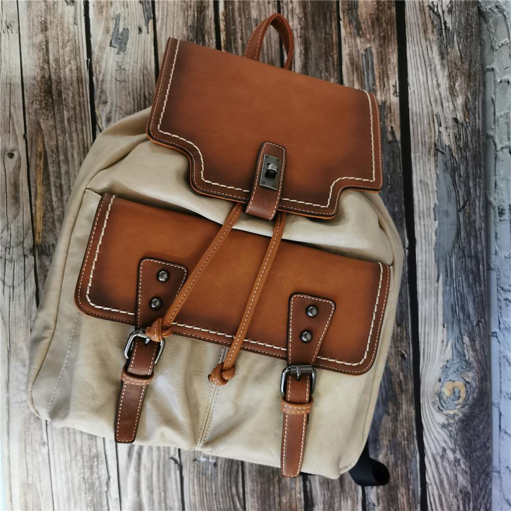 IMYOK Vintage-Stitching Flap-Rucksack für Frauen Schulranzen Damen Leder Travel Rucksäcke Schultertasche Mädchen 2020 Schoolbag Q1113