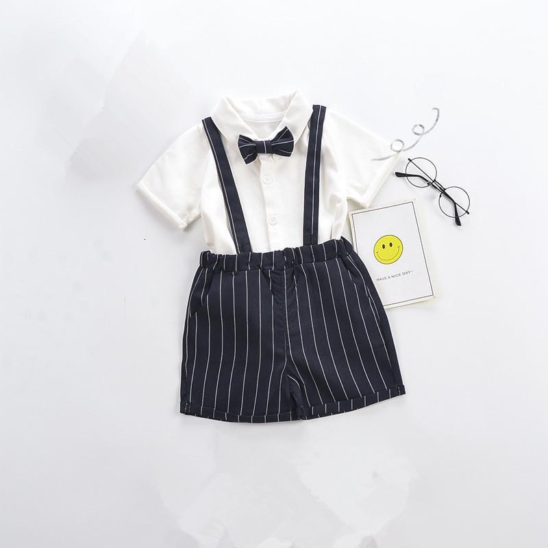 2021 NUEVOS NIÑOS NIÑOS Ropa casual Conjunto de algodón de verano Manga corta Arco Tops + Pantalones cortos de suspensión Niños Caballero Suit 0-4Y 6da