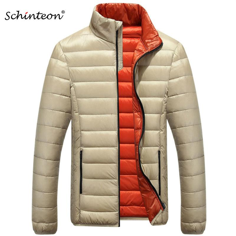 Schinteon Men Down Coat Winter Jacket Outwear Overcoat Ultralight Warm Fashion Stand Collar Travel Pocketable Portable 201022