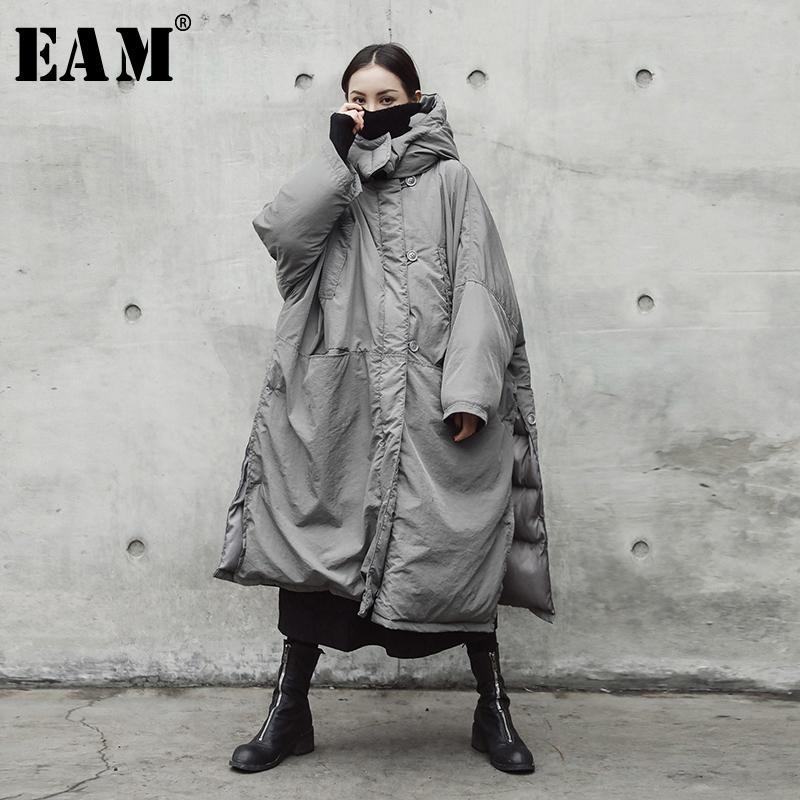 [Eam] capucha con capucha acolchada gris de gran tamaño larga abrigo caliente manga larga fosa suelta mujer parkas moda primavera otoño je02002 2011
